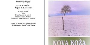 """Najava promocije knjige """"Nova koža"""", Željka T.Kovačevića"""