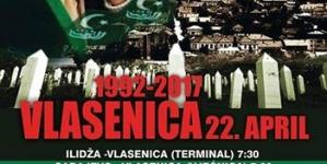 Ispraćaj ubijenih Vlaseničana 21. aprila ispred Komemorativnog centra Tuzla