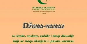 Džuma namaz za učenike, studente, radnike i druge džematlije