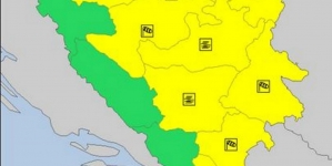 Upaljen žuti meteoalarm za veći dio BiH