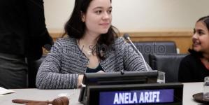 Anela Arifi alumni učenica Međunarodne srednje škole, u sjedištu UN-a