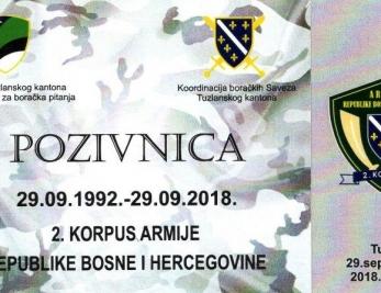 Protokol obilježavanja 26.godišnjice formiranje 2. Korpusa Armije RBiH