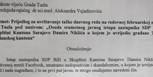 Zajednički prijedlog vijećnika SDA i SBB-a: Gradsko vijeće Tuzla treba osuditi sramotni čin Damira Nikšića