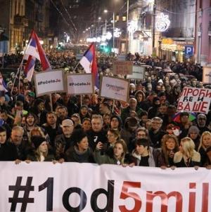 """Građanski protest pod nazivom """"Jedan od pet miliona"""" održaće se i danas u Beogradu"""