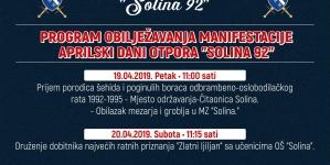 """Pozivnica za obilježavanje manifestacije Aprilski dani otpora """"Solina 92"""""""