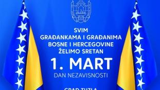Čestitka gradonačelnika Jasmina Imamovića i predsjedavajuće Gradskog vijeća Nataše Perić, u povodu 1. Marta – Dana nezavisnosti Bosne i Hercegovine