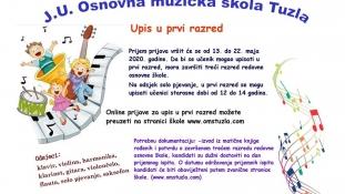 J.U. Osnovna muzička škola Tuzla vrši online prijave za upis u prvi razred