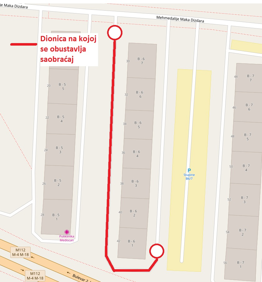 Privremena obustava saobraćaja u dijelu ulice Mehmedalije Maka Dizdara