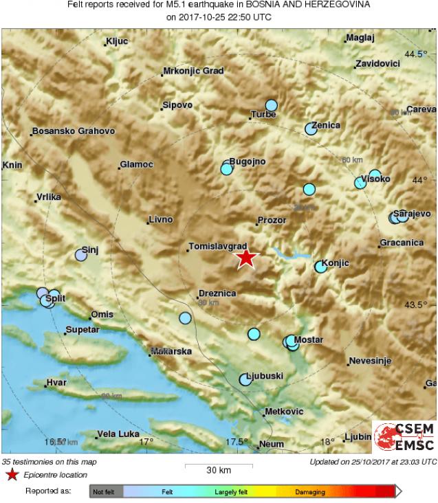 Tri zemljotresa potresla šire područje BiH