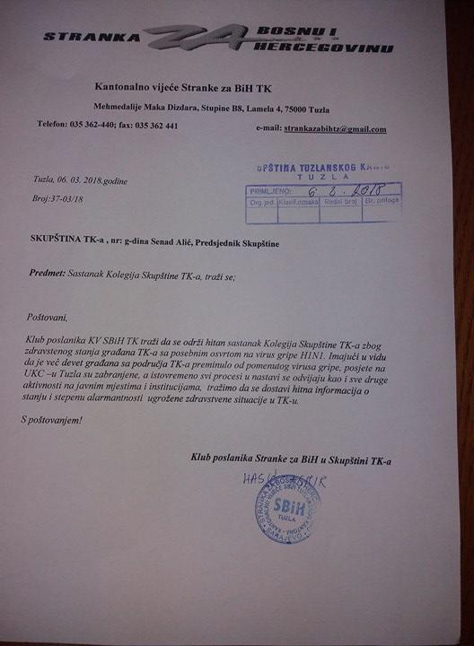 Stranka za BiH TK zahtijeva hitno održavanje Kolegija Skupštine TK-a zbog zabrinjavajuće zdravstvene situacije