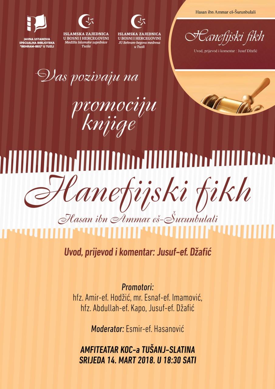 Najava promocije knjige Hanefijski fikh