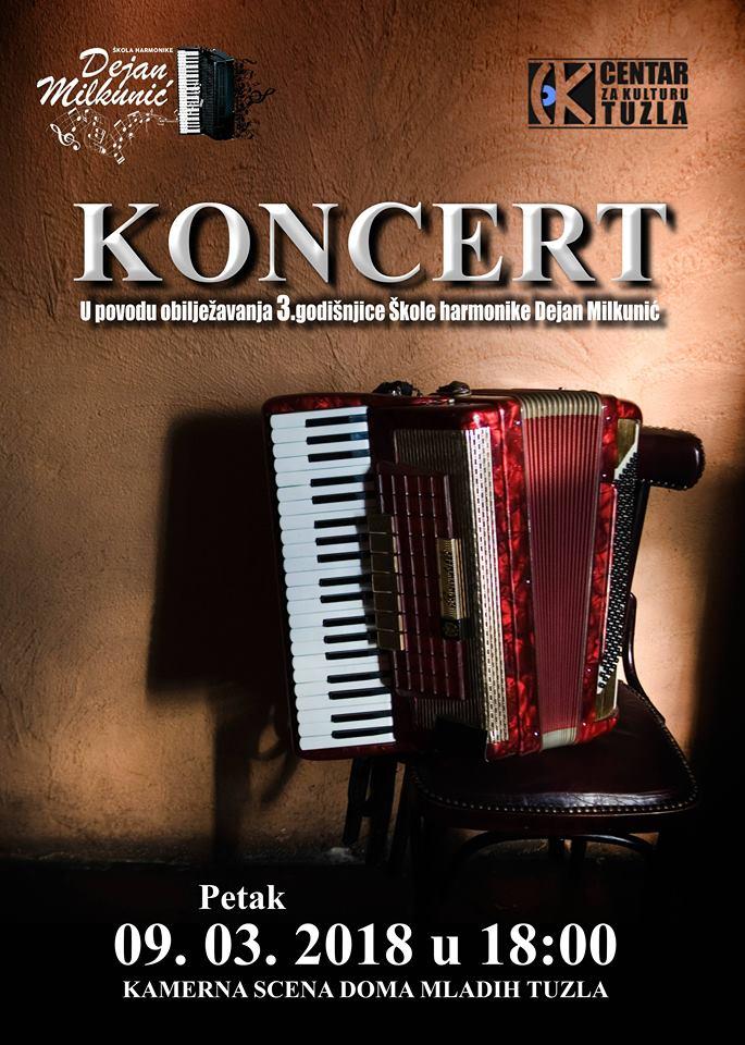 Najava koncerta Škole harmonike Dejana Milkunića