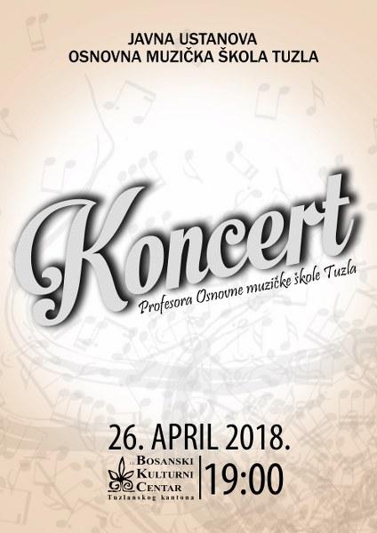 Najava koncerta klasične muzike nastavnika Osnovne muzičke škole Tuzla