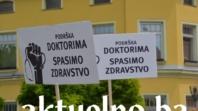 Predstavnici sindikata zdravstvenih radnika još jednom su se okupili ispred Vlade HNŽ-a
