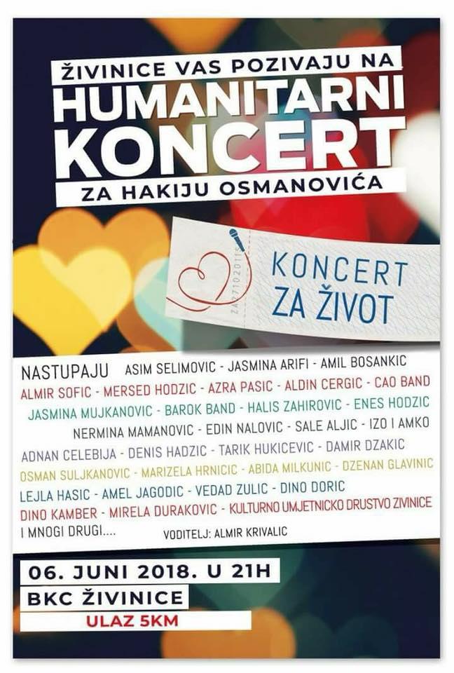 Veliki humanitarni koncert za Hakiju u srijedu u BKC-u Živinice