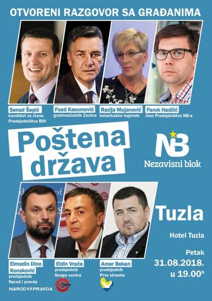 Javna tribina Nezavisnog bloka u Tuzli večeras od 19 sati u Hotelu Tuzla