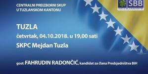 """Centralni predizborni skup SBB BiH 4. oktobra u SKPC """"Mejdan"""""""
