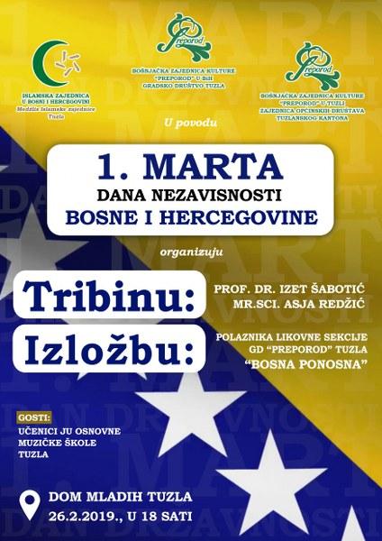 Javna tribina o značaju 1. marta Dana nezavisnosti BiH u organizaciji Preporoda večeras u Tuzli