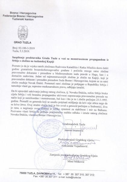 Saopštenje predstavnika Grada Tuzle u vezi sa monstruoznom propagandom iz Srbije o zločinu na tuzlanskoj Kapiji