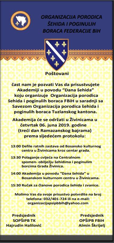 Centralna manifestacija Dana šehida FBiH u četvrtak 6.juna u Živinicama