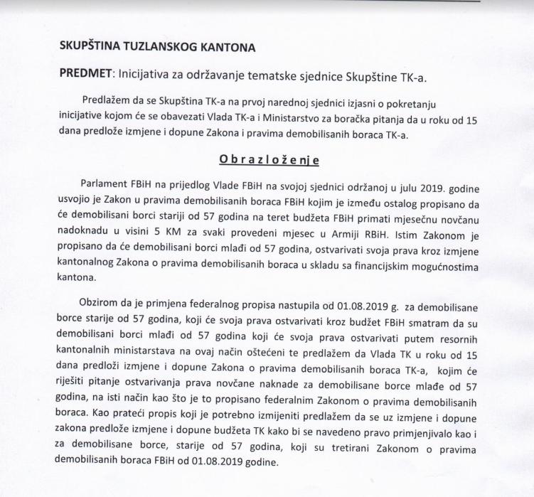 Inicijative poslanika Bege Gutića (SDA) za održavanje tematskih sjednica Skupštine TK