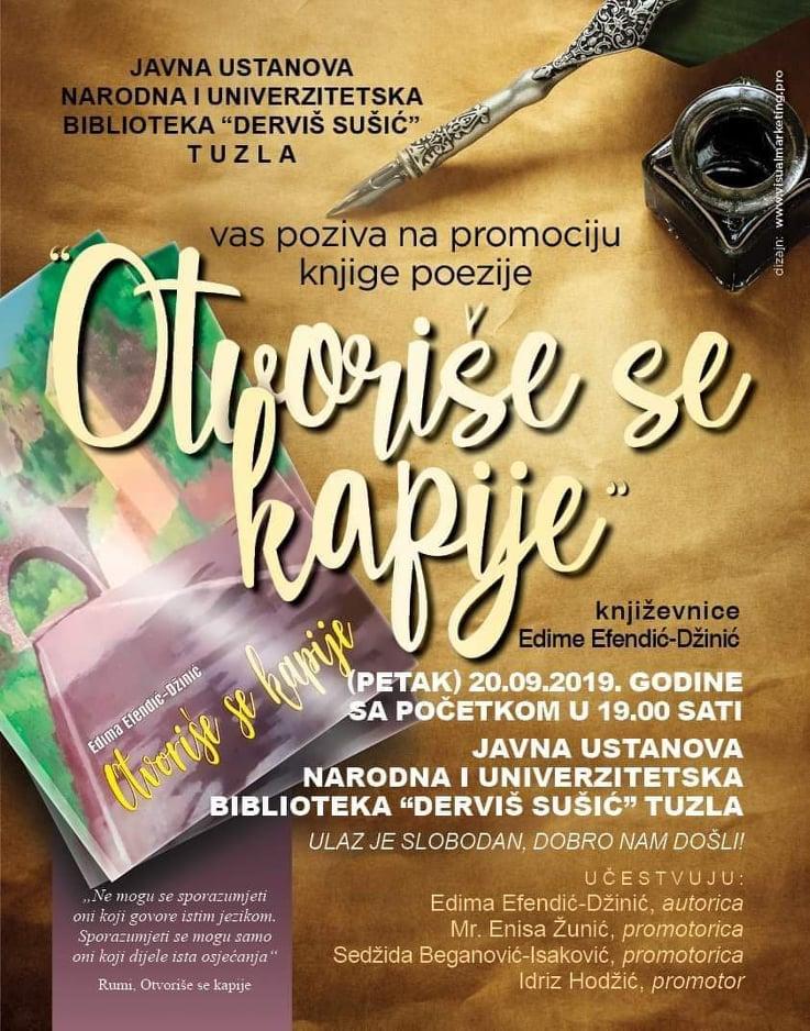 """Najava promocije knjige""""Otvoriše se kapije"""" autorice Edime Efendić – Džinić iz Tuzle"""