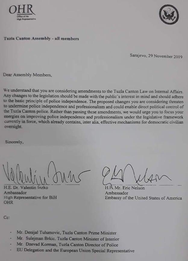 Pismo Visokog predstavnika u BIH Valentina Inzka i ambasadora SAD-a Erica Nelsona
