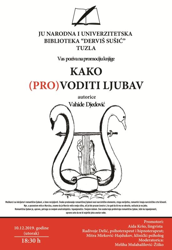 """Najava promocije knjige """"Kako (pro)voditi ljubav"""" Vahide Djedović"""