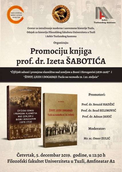 Najava promocije knjiga prof. dr. Izeta Šabotića