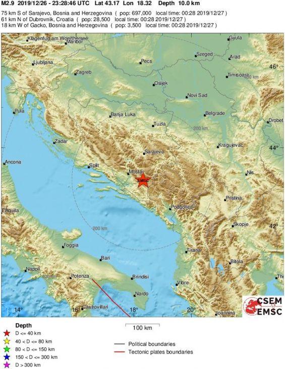 Novi zemljotres jačine 2.9 pogodio BiH
