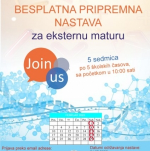 Besplatna pripremna nastava za eksternu maturu