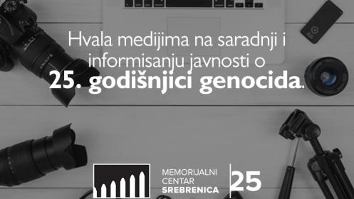 Memorijalni centar Srebrenica zahvalio medijima na podršci obilježavanju 25. godišnjice genocida