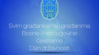 Čestitka Grada Tuzle u povodu 25.11. – Dana državnosti Bosne i Hercegovine