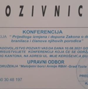 Najava događaja: Maloljetni borci ARBiH Grada Tuzla konferencijom do prava koja im pripadaju